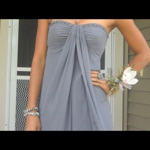 David's Bridal Strapless Bedazzled grey dress